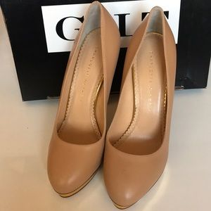 14149851 Charlotte Olympia Shoes - NEW Charlotte Olympia Debbie Pumps Tan Sz 38